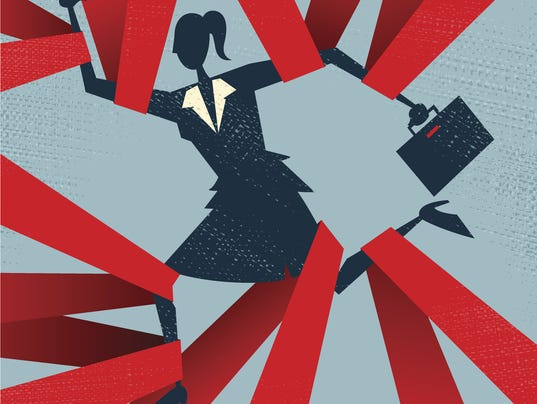 Abstract Businesswoman caught in Red Tape.