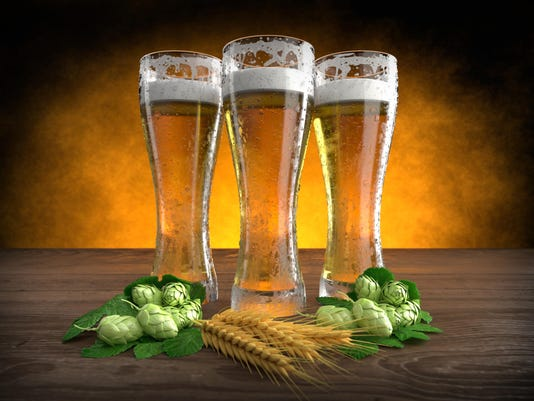 three glasses of beer with barley and hops. 3D render
