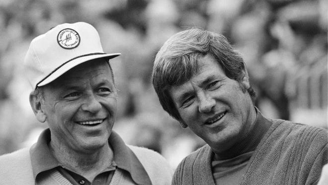 Doug Sanders (right), seen here with legendary singer Frank Sinatra, earned 20 PGA Tour wins but couldn't break through at a major, finishing second four times.