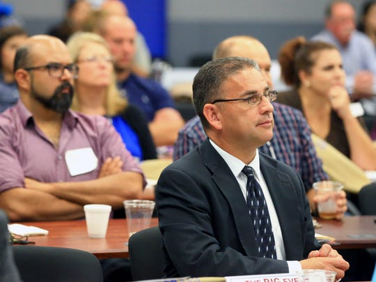 People listen to Gulf Coast Growth Ventures Operations Manager John Mabry (not pictured) during the BIG Event on Wednesday, Aug. 9, 2017, at Del Mar College Center for Economic Development in Corpus Christi.