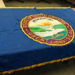 One side of the original South Dakota state flag that was stolen from the Secretary of State's Office.