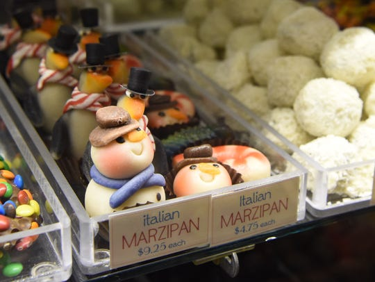 A view of some Italian marzipan shaped like snowmen