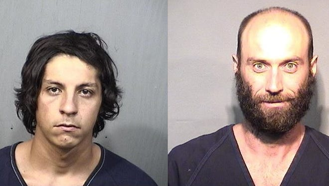 Justin Carnegie (left) and Timothy Chaille face burglary and theft charges.