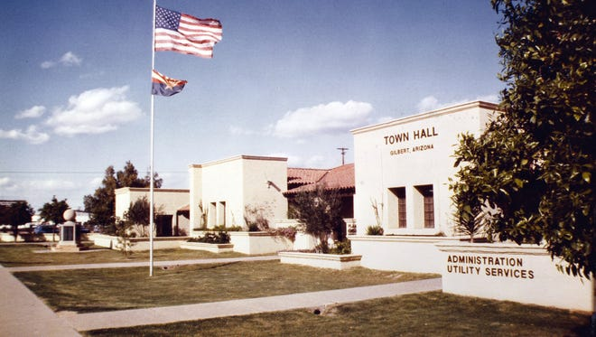 Gilbert Town Hall circa 1982 that now houses the Chamber of Commerce. The town's population took off after 1970.