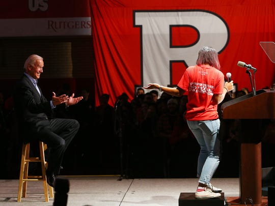 Joe Biden, the 47th vice president of the United States is introduced by student Imani Ali. Biden discussed 'ItÕs On Us,' a national campaign to end sexual assault on college campuses during his visit to Rutgers University. The campaign was launched in 2014 following recommendations from the White House Task Force to Prevent Sexual Assault. October 12, 2017. New Brunswick, New Jersey