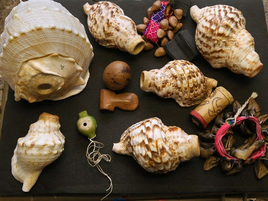 This is a collection of shells, whistles and rattles that world-renowned composer and musician William Cepeda uses in his music.