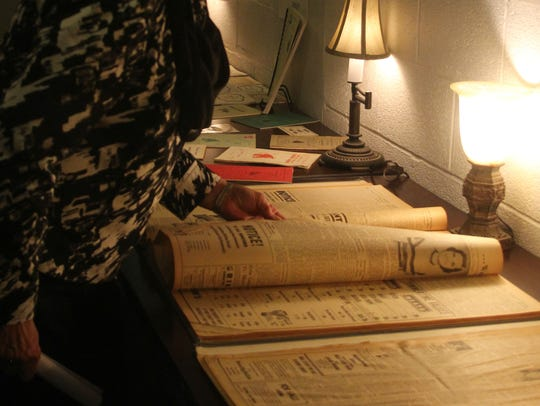 The archives had a display of artifacts and newspapers