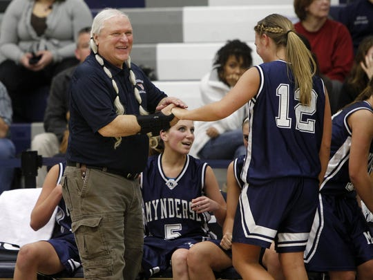 Al Best, left, shown here during the 2011 Section V championship season when he coached Mynderse, will coach his Wayland-Cohocton squad against his old team in Saturday's 5 p.m. Class B title game at Rush-Henrietta. Best is trying to coach a fourth different school to a crown.