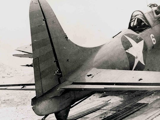 The tattered tail of the SBD-2 Dauntless (Bureau Number