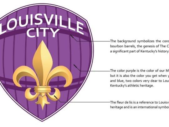 The Louisville City FC logo features a Fleur-de-lis and bourbon barrel.