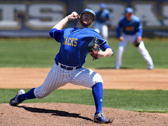 SDSU right-hander Ryan Froom has six wins this year for the Jacks, who open the Summit League baseball tournament Wednesday in Tulsa.