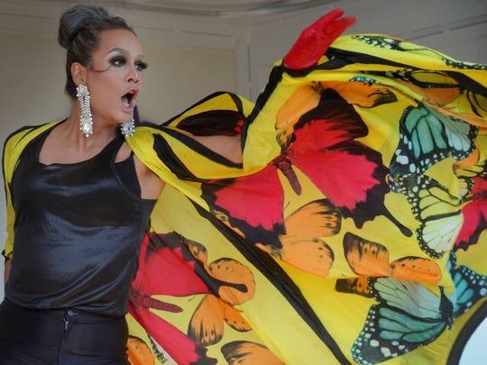 Raja Gemini performs during the Ventura County Pride festival Saturday at Promenade Park in Ventura. Gemini was the Season 3 winner of 'RuPaul's Drag Race.'