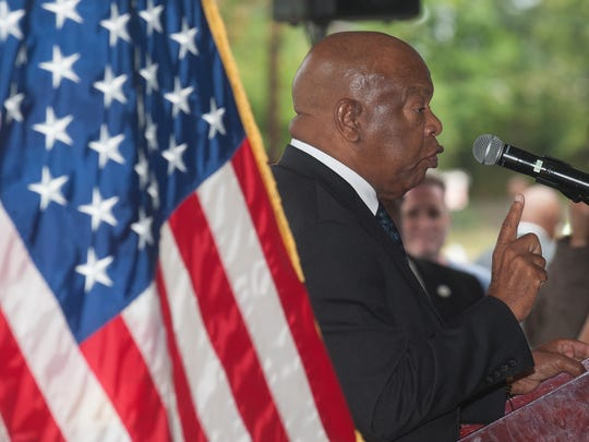 U.S. Rep. John Lewis talks at press conference during a visit to 753 Walnut St., Camden,  a home where Dr. Martin Luther King Jr. stayed during the 1950s.