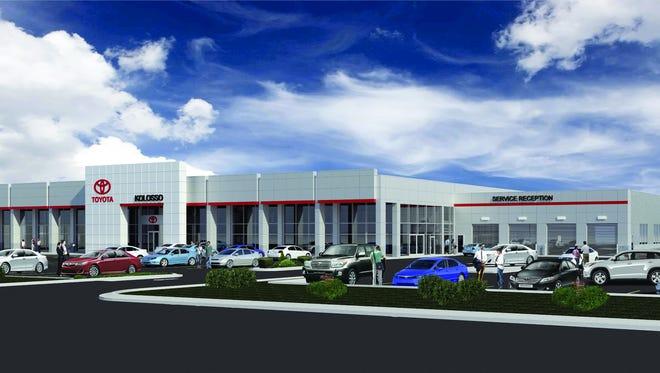 Illustration of the future Kolosso Toyota building in Appleton.