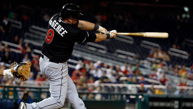 Casey McGehee hits an RBI single to score the go ahead run during the 10th inning.