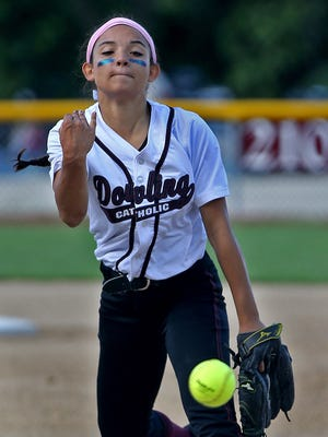 Dowling Catholic pitcher Claudia Farrell, shown here in a regional final, threw a three-hitter in her team's 4-1 win over Pleasant Valley in a state tournament quarterfinal.