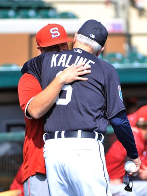 Colin Kaline gives his Hall of Fame grandfather a hug before the Tigers take on Florida Southern on Monday.