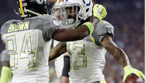 T.Y. Hilton and Antonio Brown at the Pro Bowl earlier this year.