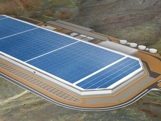 A rendering of the completed Gigafactory 1 for Tesla