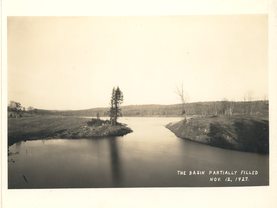 A view of the partially filled basin of Pines Lake,