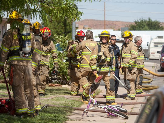 The St. George Fire Department responds to a structure