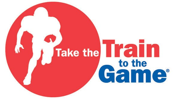 """Metro-North's """"Train to the Game"""" logo."""