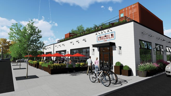 An architectural rendering of the proposed Lincoln Yard bistro in Birmingham's Rail District.