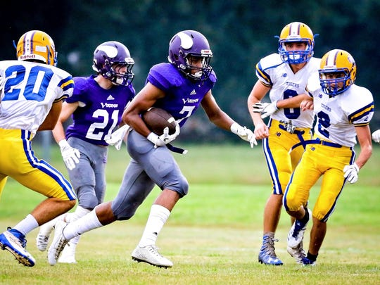 in the game between Opelousas Catholic and Hanson in the Kiwanis Jamboree in Opelousas, Louisiana on August 25, 2017.