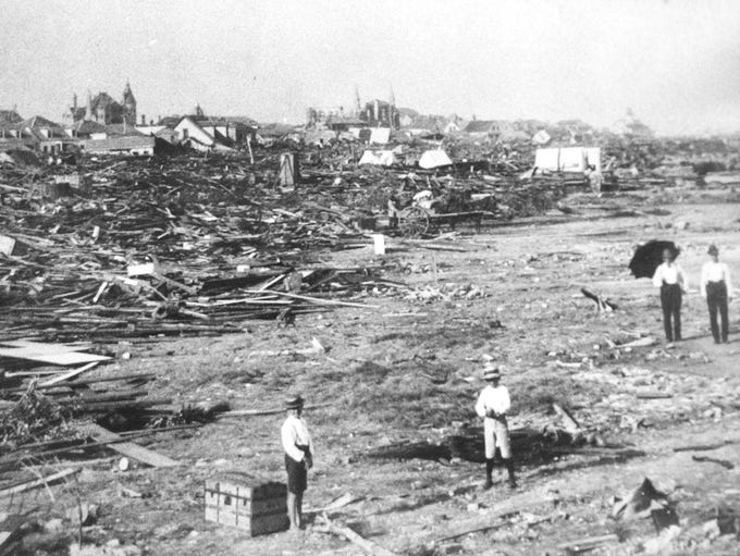 1900 Galveston hurricane-- A large part of the city