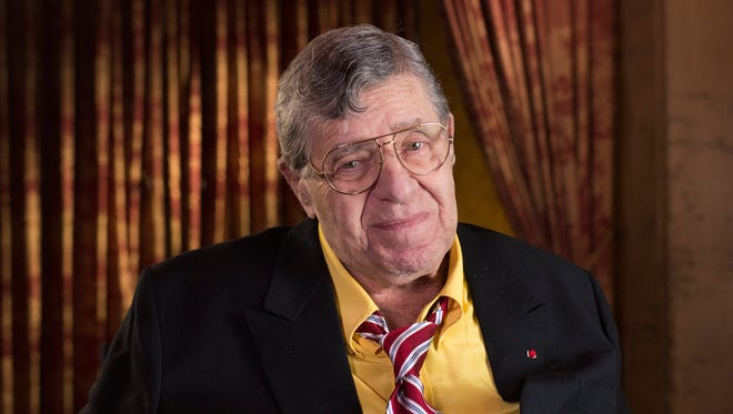 Jerry Lewis poses during an interview at TCL Chinese Theatre in Los Angeles on April 12, 2014.