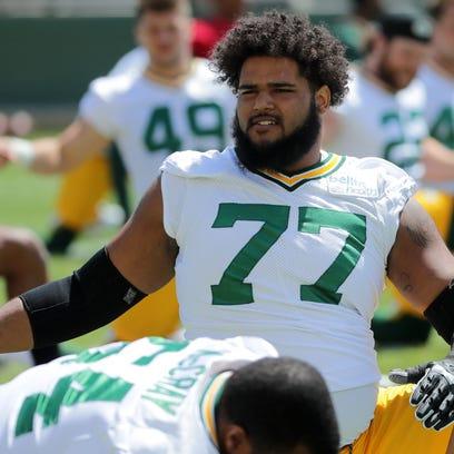 Green Bay Packers offensive guard Adam Pankey (77)