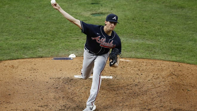 Atlanta Braves' Kyle Wright pitches during the fourth inning of a baseball game against the Philadelphia Phillies Aug. 8, in Philadelphia.