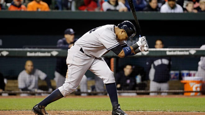 New York Yankees' Starlin Castro slams his bat after striking out swinging to end the top of the sixth inning of a baseball game against the Baltimore Orioles in Baltimore, Thursday, May 5, 2016. Baltimore won 1-0 in ten innings.