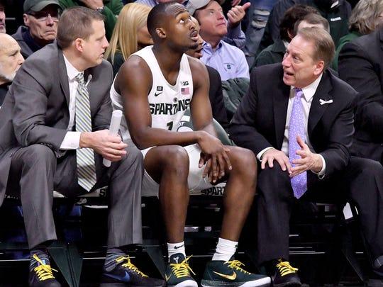 Dane Fife, left, joined Tom Izzo's staff at Michigan