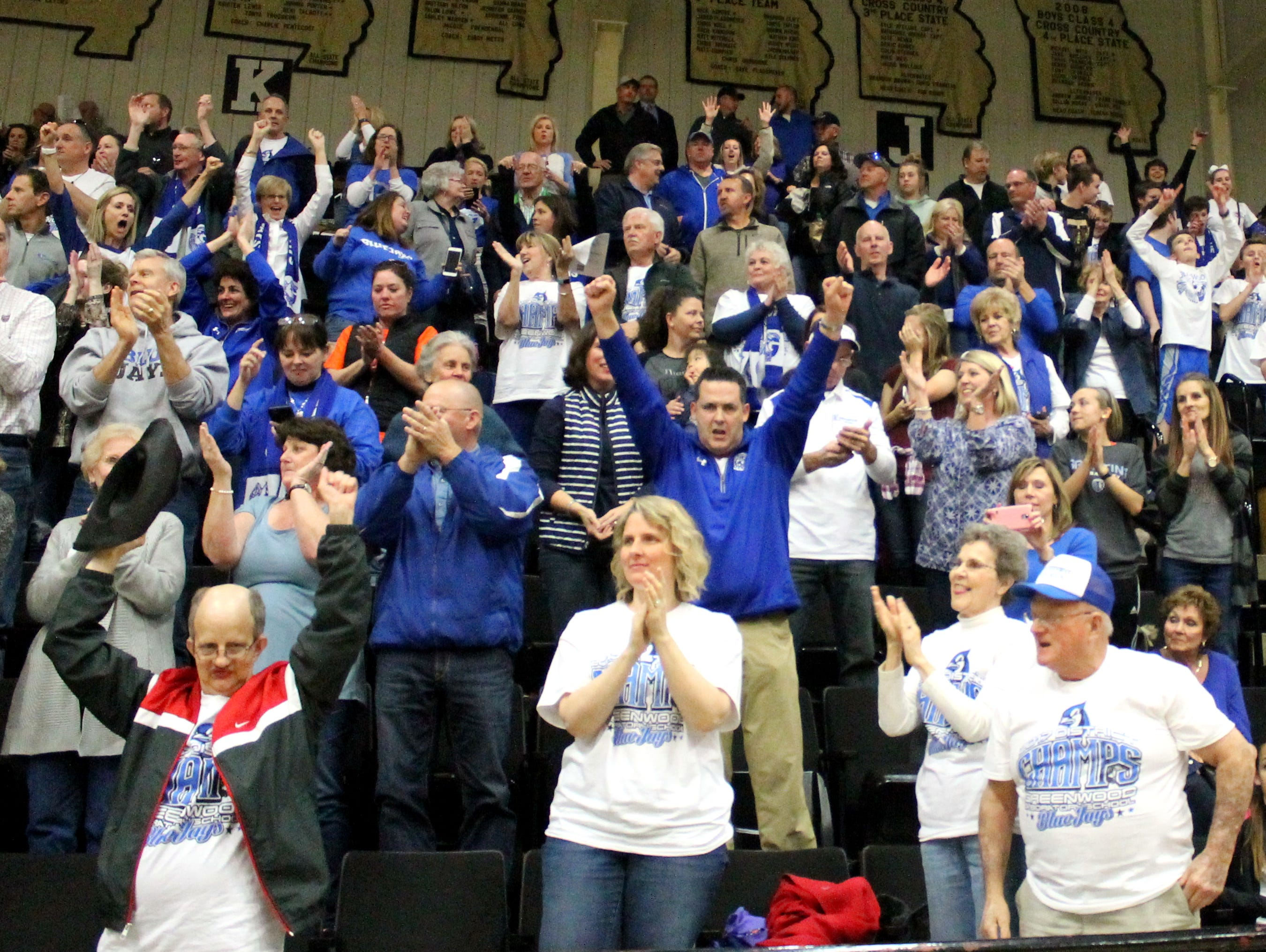 Greenwood fans react to the Blue Jays 73-70 sectional playoff win over Iberia at Lebanon's J.E. Boswell Auditorium on March 1, 2017.