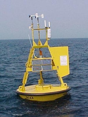This is data weather buoy No. 41009 that broke loose from its mooring 20 miles east of Port Canaveral during Hurricane Matthew. A second buoy 120 miles offshore hasn't reported data since mid August.