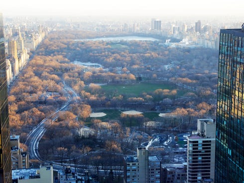 A view of midtown from a room on the 62nd floor of the Courtyard-Residence Inn Central Park.