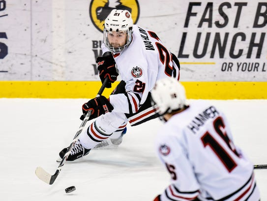 St. Cloud State's Jake Wahlin skates with the puck