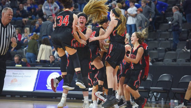 Brandon Valley cheers after their win against O'Gorman Thursday, March 15, at the Denny Sanford Premier Center.