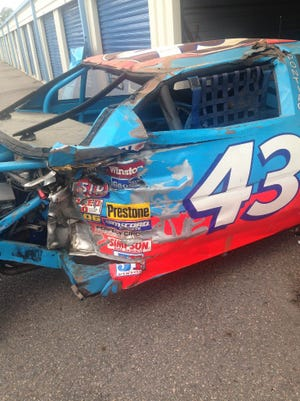 Richard Petty's No. 43 1988 Daytona 500 crash car rolls out of storage in Walterboro, where it had been for 26 years.