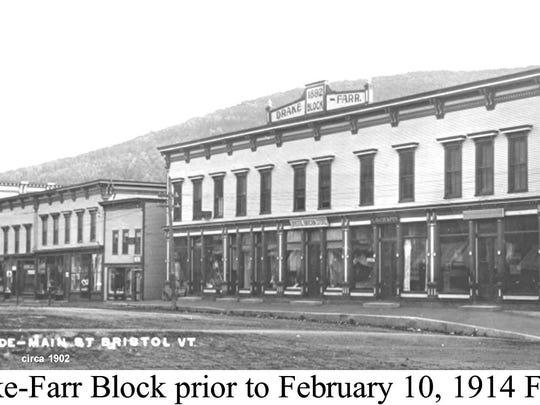 Drake-Farr Block prior to the Feb. 10, 1914, fire in Bristol. Photo circa 1902.
