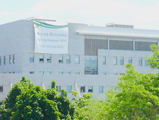 A sign was draped over the UVM Medical Center's ambulatory