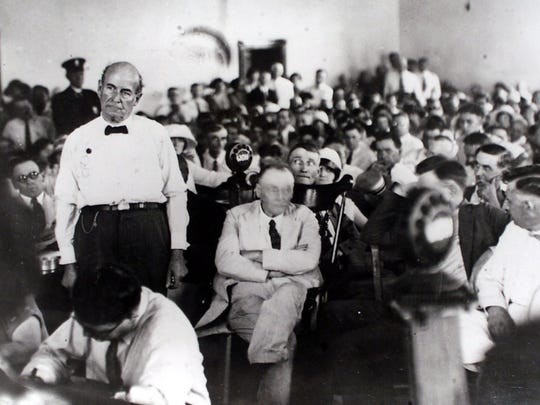 William Jennings Bryan argues on behalf of creationism in the Rhea County Courthouse at the Scopes Monkey Trial.