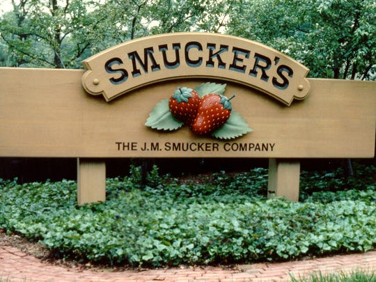 A Smucker's sign is shown in Wooster, Ohio.