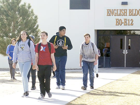 Students walk across the Fernley High School campus.