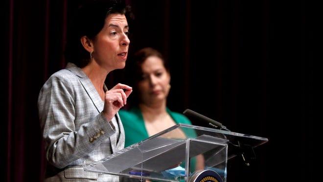 Gov. Gina Raimondo gives Wednesday's coronavirus update at Veterans Memorial Auditorium in Providence.