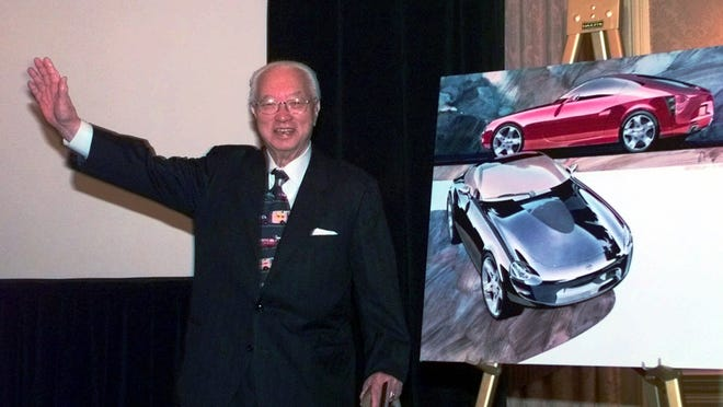 """Yutaka Katayama, the """"father of the Z,"""" introduces Nissan's new Z car concept during a news conference in Dearborn in 1998. Katayama died Thursday, Feb. 19, 2015, his son said. He was 105."""