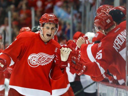 Red Wings' Dylan Larkin celebrates his goal against