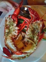 A steamed lobster, cut in half and served at Pacifica.