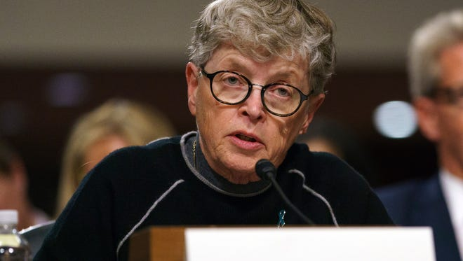 Former Michigan State University president Lou Anna Simon testifies during a Senate Subcommittee on Consumer Protection, Product Safety, Insurance, and Data Security, on Capitol Hill in Washington on Tuesday.